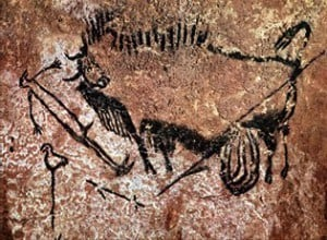 The wounded man panel from the shaft at Lascaux