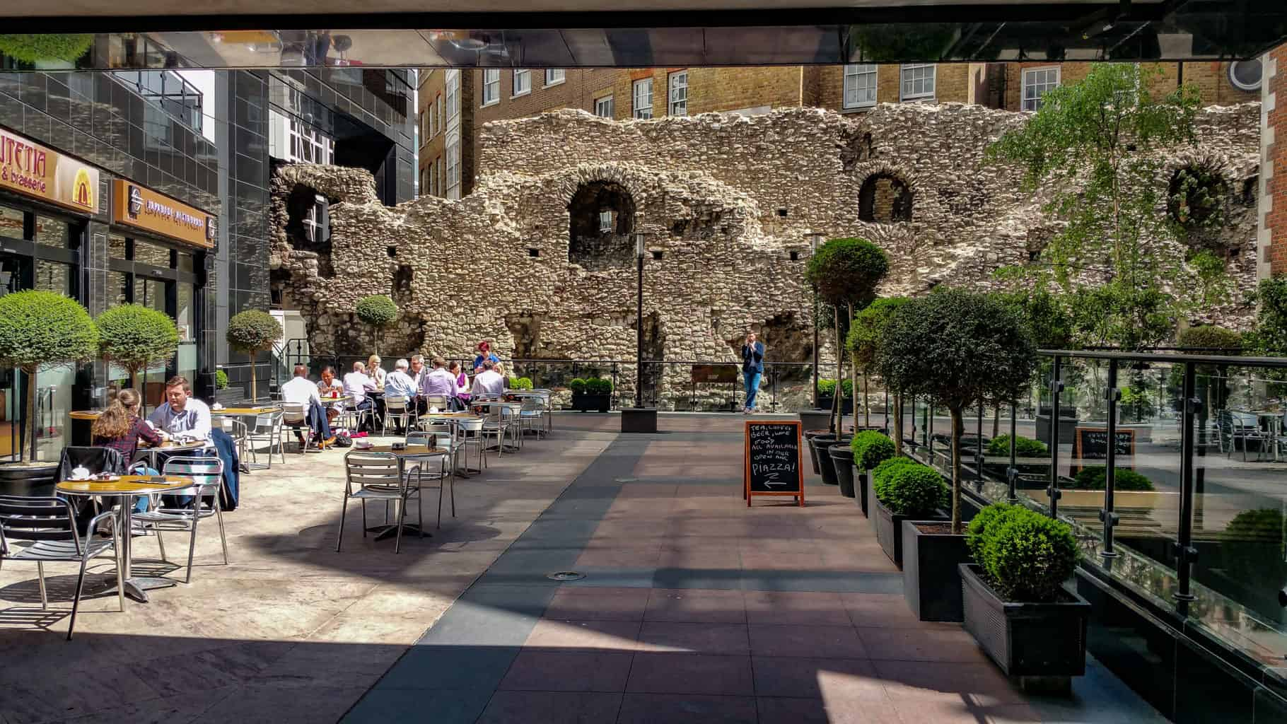 A section of the Roman and Medieval city wall of London at Cooper's Row.