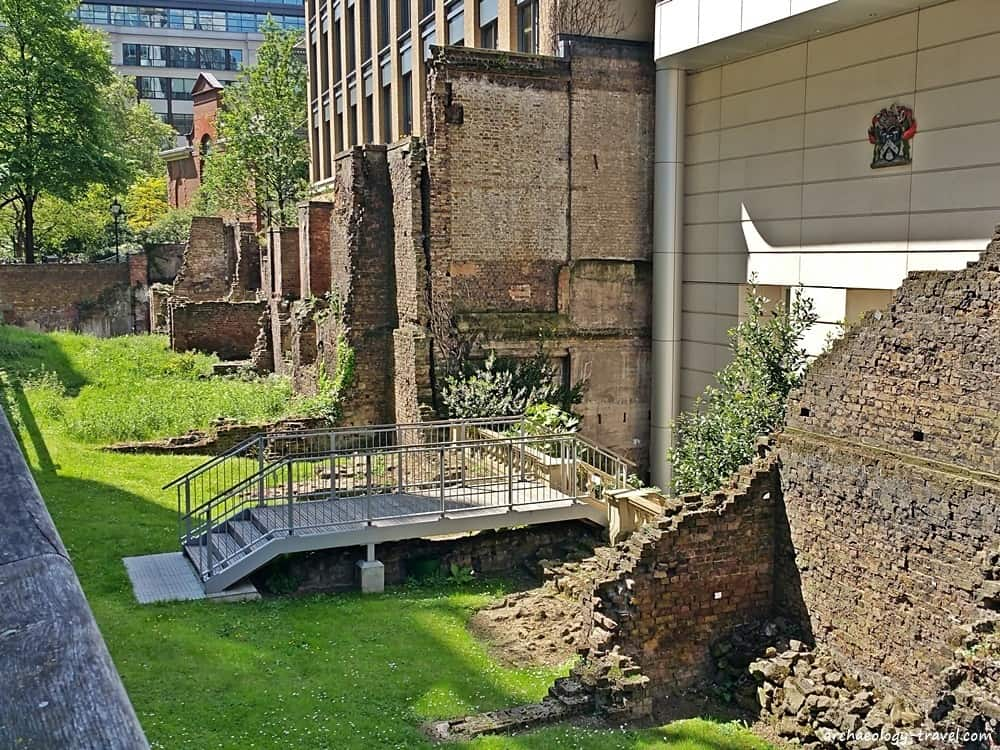 Remains of Medieval sections of the City Wall on Noble Street.