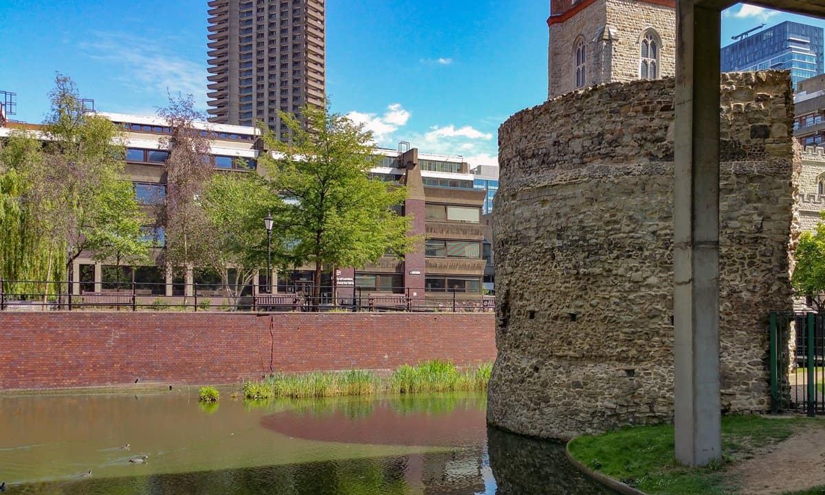 The medieval tower at the north west corner of the London City Wall.