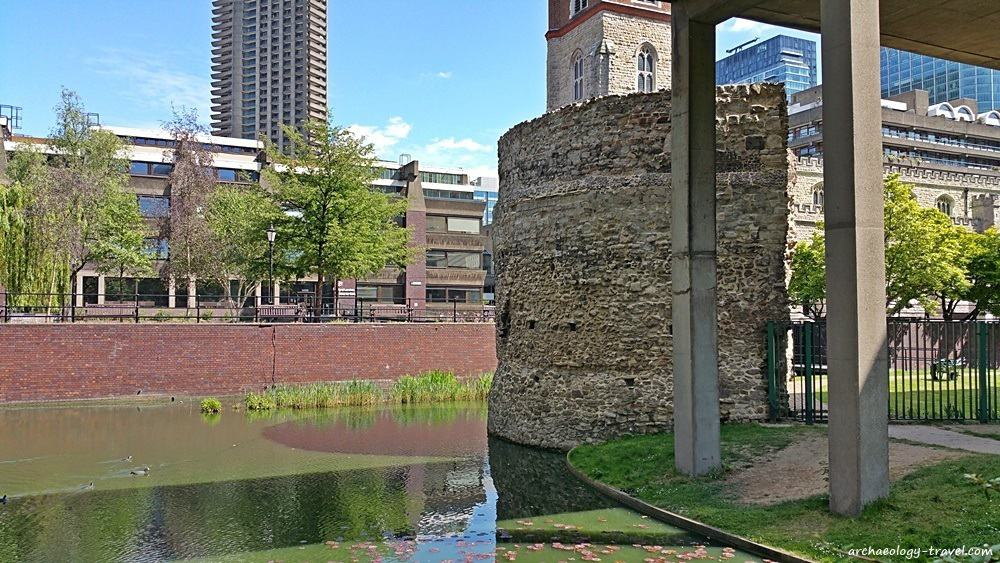 One of the Medieval towers of the London City Wall in the Barbican Centre.