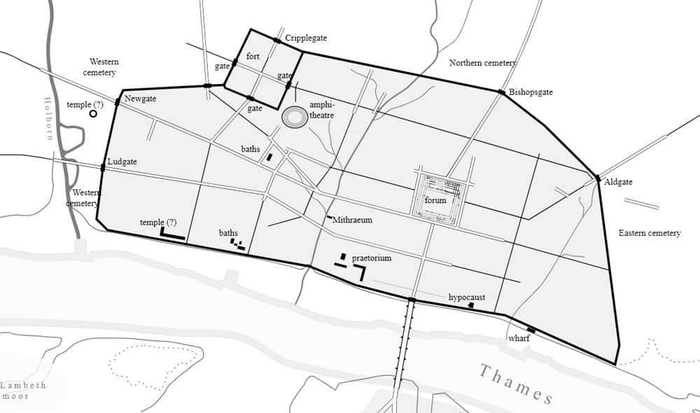 A map of the London Roman wall as it was in the 4th century AD.