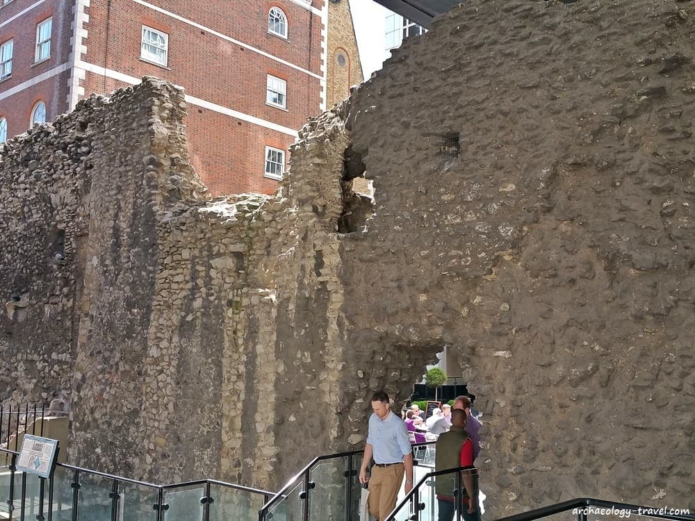 The back of the Cooper's Row section of the Roman city wall.