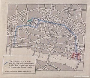 The route of the Roman Wall in London.