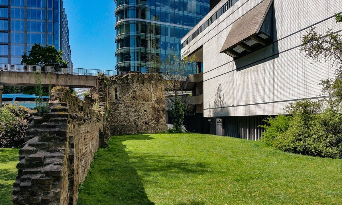 The City Wall viewing window in the Museum of London.