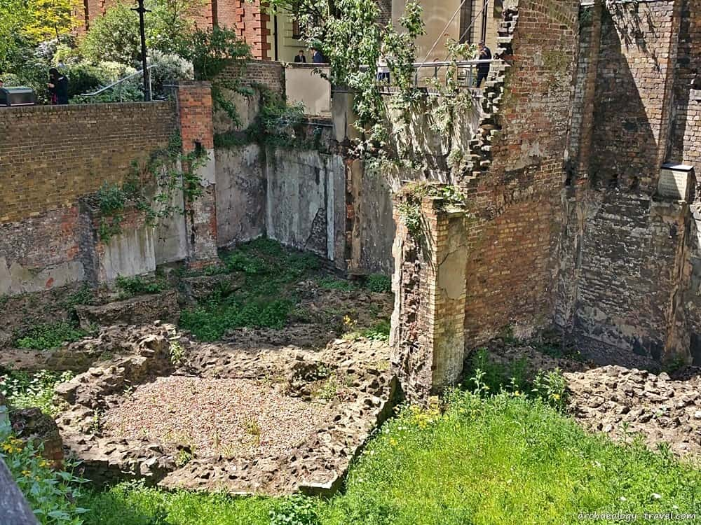 Foundations of a Roman turret beneath the Medieval wall on Noble Street.