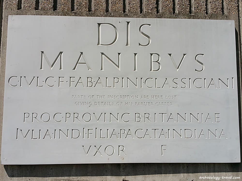 A reconstruction of the memorial inscription from a tomb found near the Tower Hill city wall.