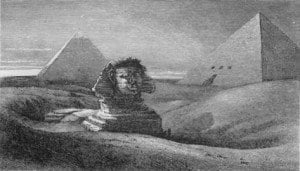 """Amelia Edwards's sketch of the Sphinx and Pyramids from her book """"A Thousand Miles up the Nile (1876)""""."""