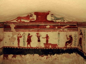 Frescoes from within an Etruscan tomb near Tarquinia, Lazio in Italy