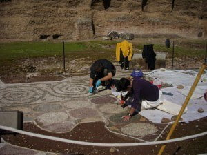 Cleaning mosaics at the Baths of Caracalla
