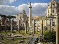 Looking over the remains of the Basilica Ulpia towards Trajan's Column.