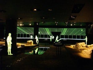 The foundations of the Roman amphitheatre in London have been enhanced by spectacular display techniques