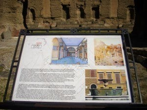 An information panel at the Baths of Caracalla.