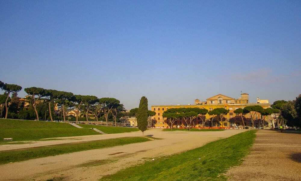 The circus maximus as it is in Rome today.