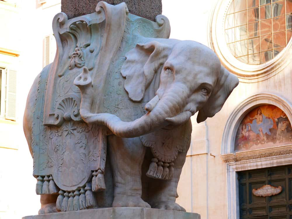 Bernini's sculpture of an elephant as the pedestal of the Minerveo Obelisk.
