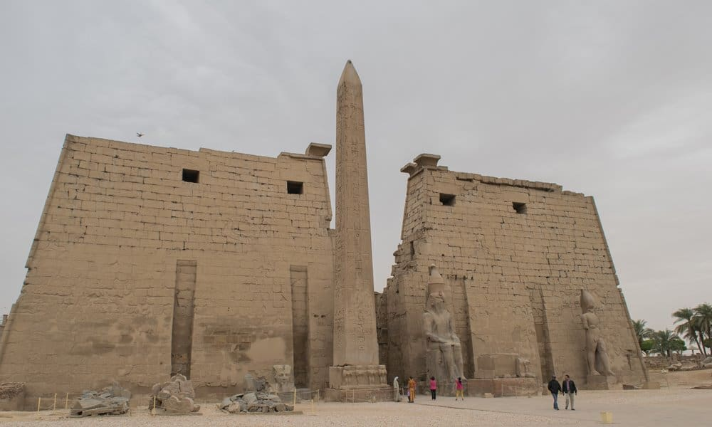 A single standing obelisk at the Luxor Temple, Egypt.
