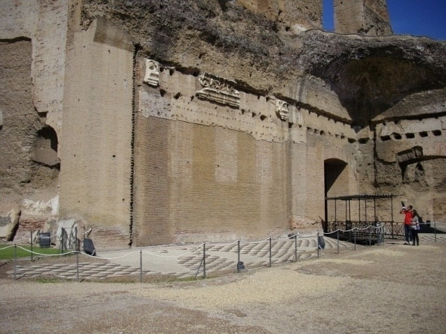 Marble remains on the walls at the Baths of Caracalla