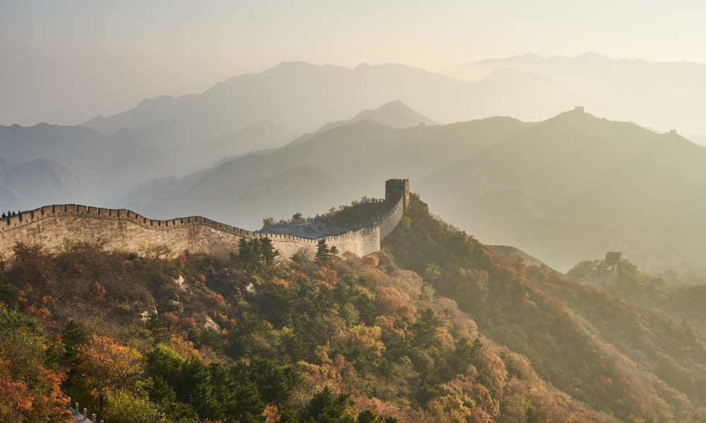 The Great Wall of China in autumn.