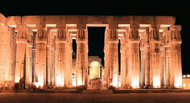 Columns with closed papyrus-bud capitals in Luxor Temple