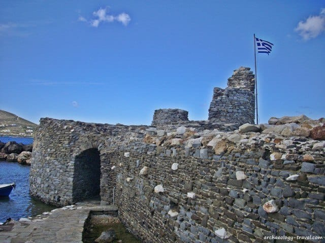 A thirteeth century Venetian Fort in the Naoussa harbour, Paros.