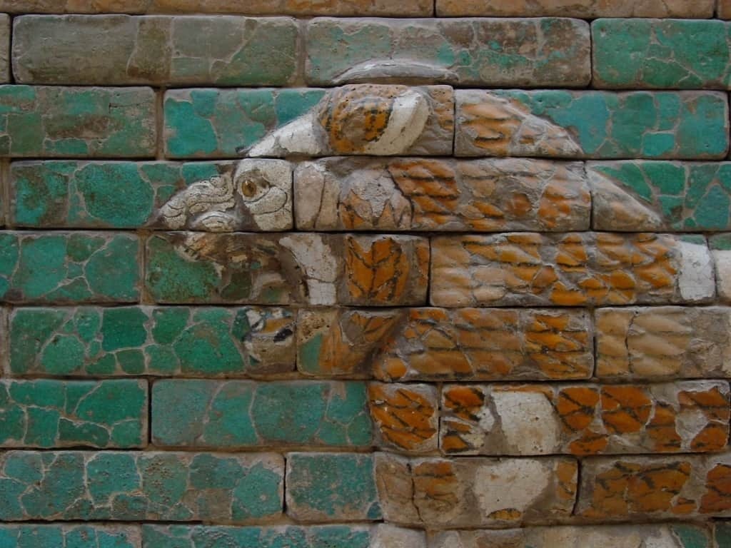 Close up of one of the lion's head on the Processional Way to the Ishtar Gate.