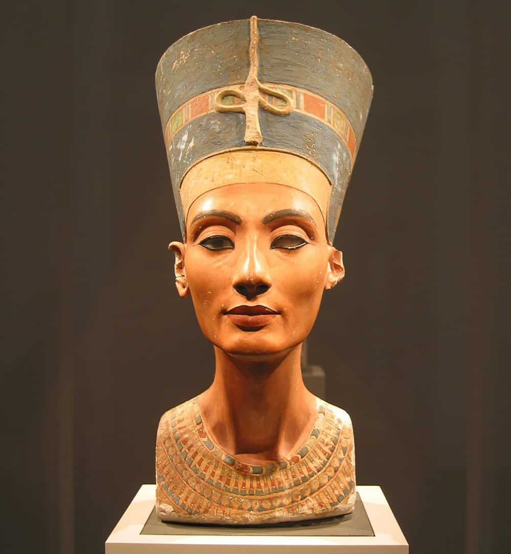 The iconic Limestone bust of Nefertiti in the Neues Museum, Berlin.