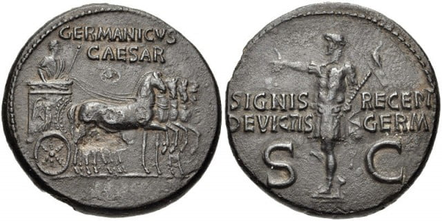 Emperor Germanicus on a victory quadriga