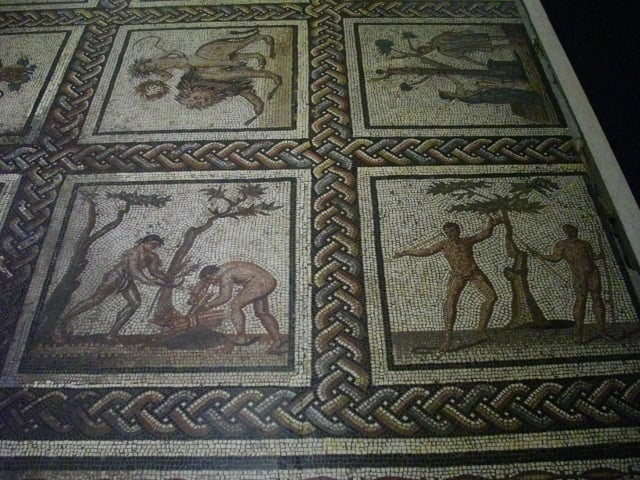Roman mosaic in the Paris archaeology museum