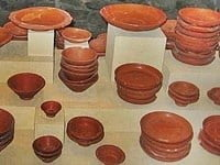 A range of samian ware on display.