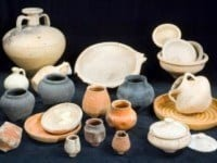 A selection of Roman pottery on display in the Museum.