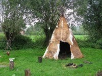 Reconstruction of a Palaeolithic shelter.