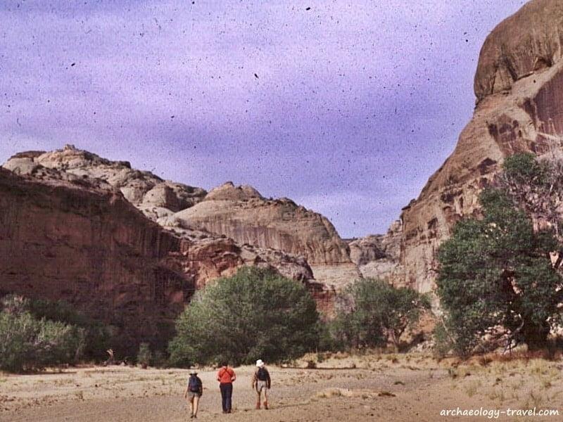 Hiking within Horseshoe Canyon, Canyonlands National Park in Utah.