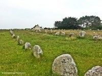 A line of megaliths that make up the Carnac stone alignments