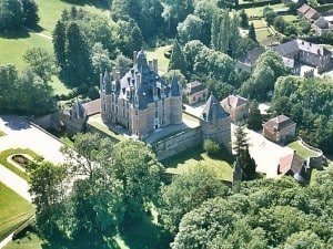 An aerial view of Château de Montmort is in the Marne Department of the Champagne-Ardenne region of France.