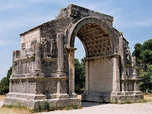 The triumphal arch at the archaeological site of Glanum.