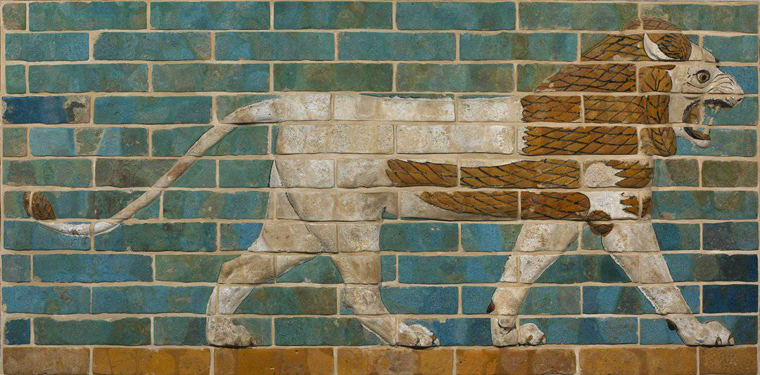 Striding lion from Babylon's Processional Way, now in the Art Gallery of Yale University.
