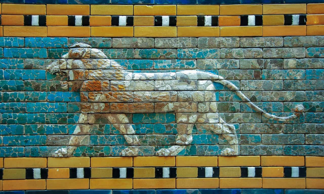 One of the striding lions from the Processional Way in Babylon, now in the Pergammon Museum, Berlin.
