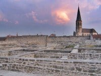 Remains of the Medieval fortress at sunset.