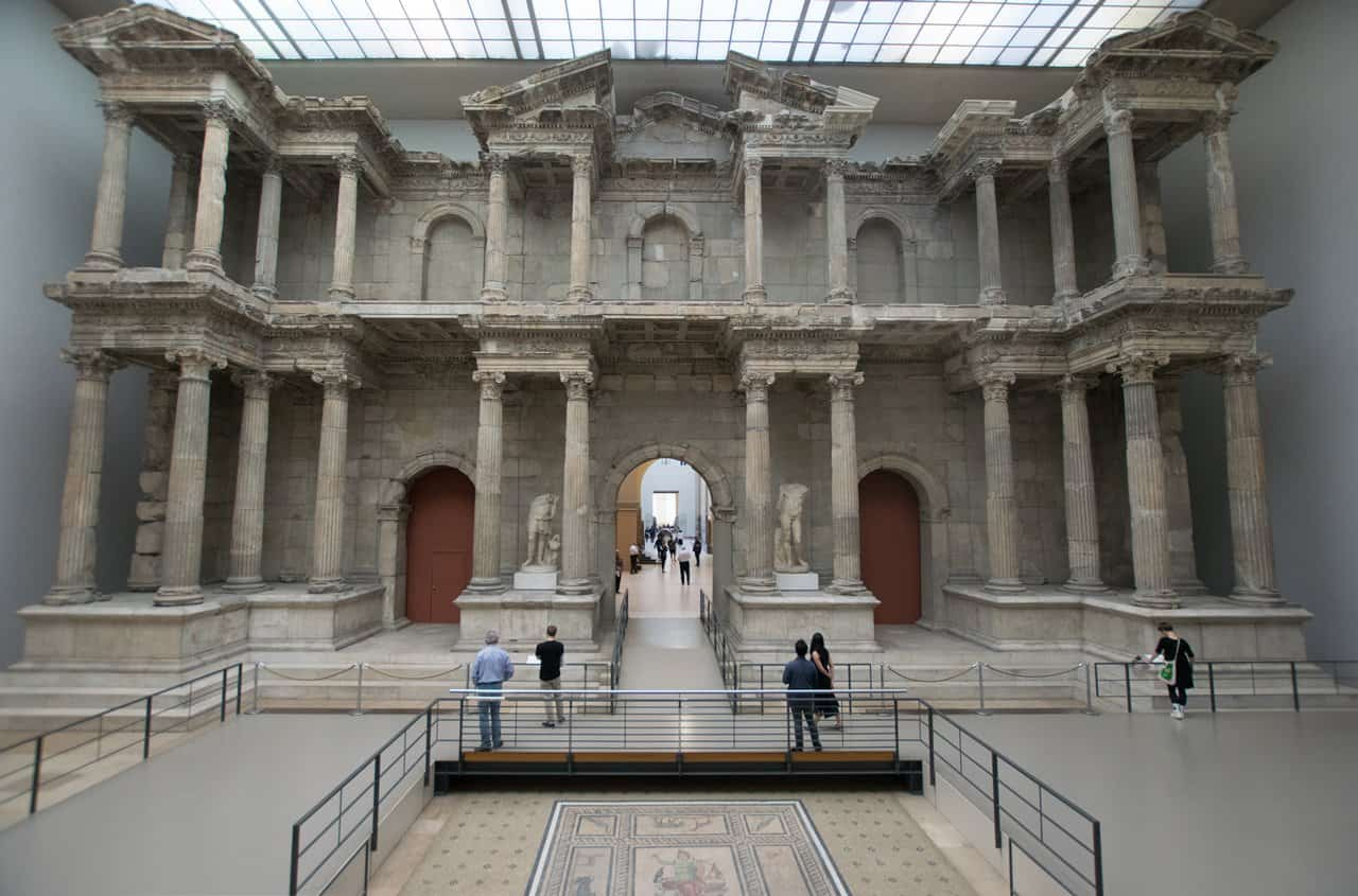 The market gate from Miletus in Turkey, now in the Pergamon Museum in Berlin, Germany.