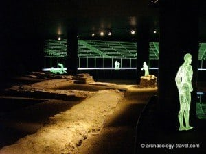 The display of the meagre remains of the Roman amphitheatre in London.