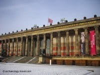 The Altes Museum in the snow.