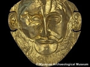 The gold mask of Agamemnon, one of 522 objects in the Greeks from Agamemnon to Alexander the Great exhibition © Mycenae Archaeological Museum