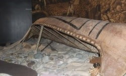 An aboriginal canoe on display in the Glenbow Museum.