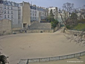 Looking down on to the arena of the Roman amphitheatre in Paris.