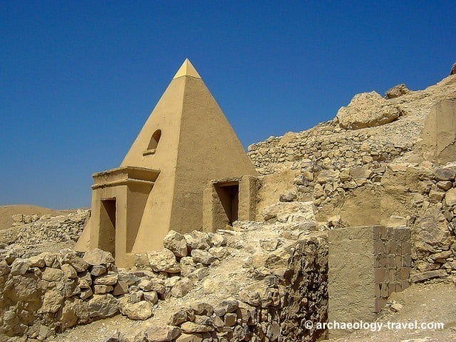 The reconstructed pyramid tomb of Sennedjem.