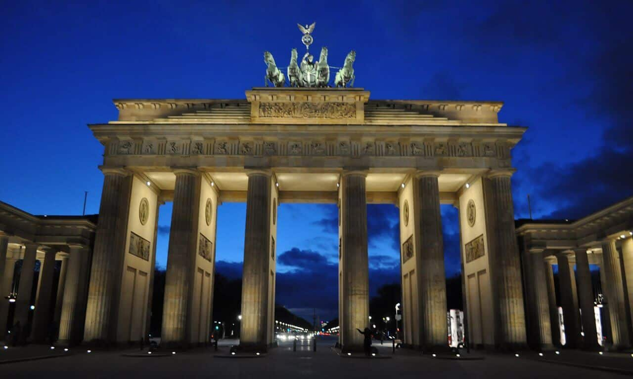 Berlin's Brandenburg Gate after dark.