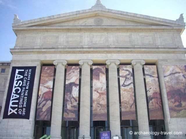Banners with Lascaux paintings on the front of the Field Museum