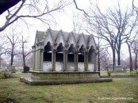 Henry Honoré's Gothic style crypt, just over the path from his daughter and son-in-law, Potter and Bertha Palmer.