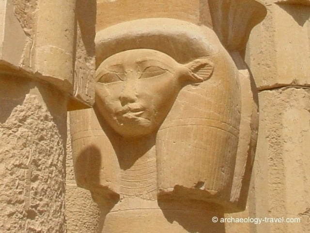 Goddess Hathor, often depicted with cow's ears.