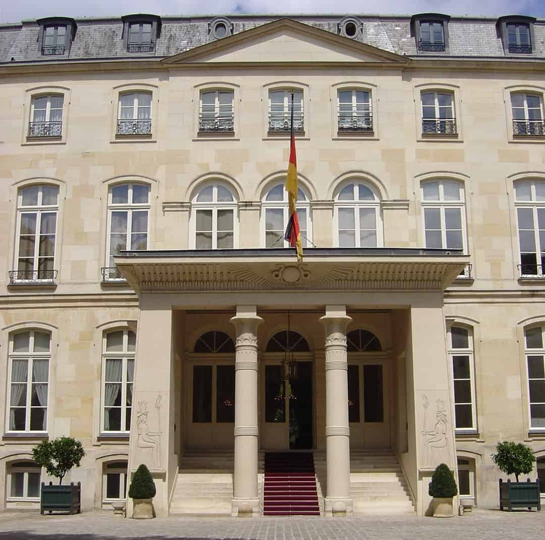 The Egytian styled entrance porch to the Hôtel Beauharnais.